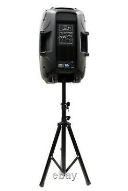 Powered 12 Dj Karaoke Speaker W Stand Bluetooth Led Wireless MIC Cables Remote