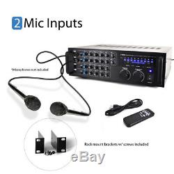 Pyle 1000 Watt Bluetooth Mixeur Stéréo Sans Fil Karaoke Amplificateur Télécommande Nouveau