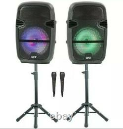 Qfx Twin 8-in Bluetooth Wireless Speaker Bundle/mics/stands/remotes/open Box