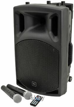 Qtx Qx12pa Bluetooth Portable Pa System Avec 2 Micros Sans Fil Sd Usb Fm Remote