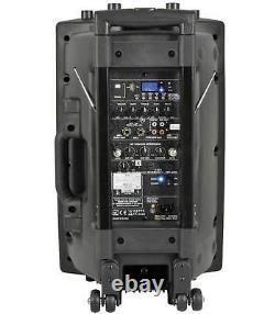 Qtx Qx15pa Bluetooth Portable Pa System Avec 2 Micros Sans Fil Sd Usb Fm Remote