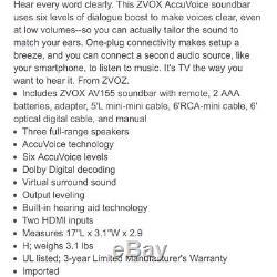 Récents Accuvoice Av155 Sound Bar Haut-parleur Tv Avec 6 Niveaux Dialogue Boost / À Distance